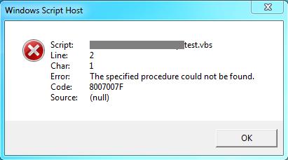 ProcedureEntryNotFoundScript